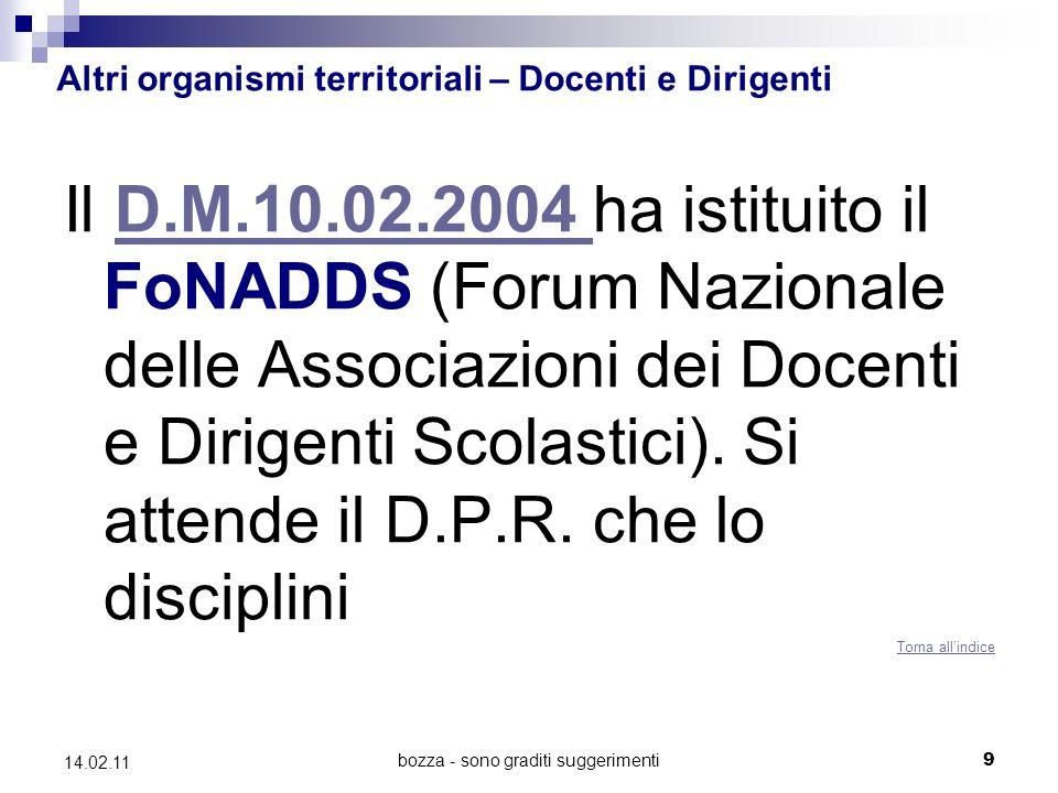 bozza - sono graditi suggerimenti9 14.02.11 Altri organismi territoriali – Docenti e Dirigenti Il D.M.10.02.2004 ha istituito il FoNADDS (Forum Nazionale delle Associazioni dei Docenti e Dirigenti Scolastici).