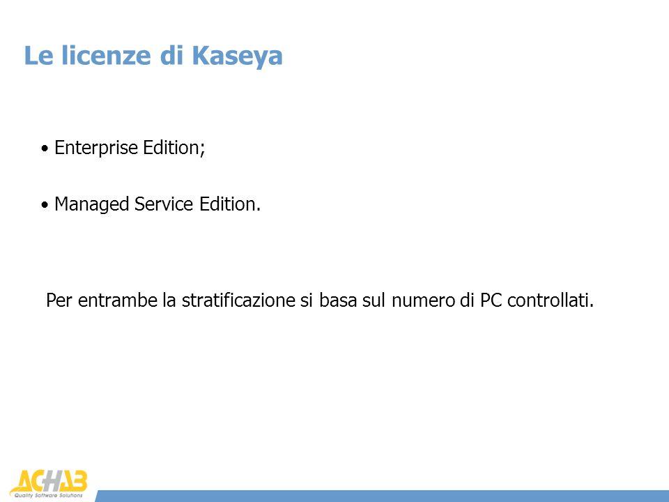 Le licenze di Kaseya Enterprise Edition; Per entrambe la stratificazione si basa sul numero di PC controllati. Managed Service Edition.