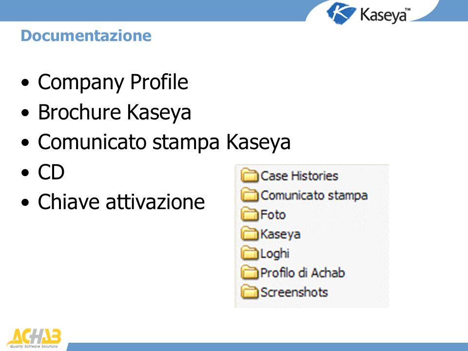 Company Profile Brochure Kaseya Comunicato stampa Kaseya CD Chiave attivazione