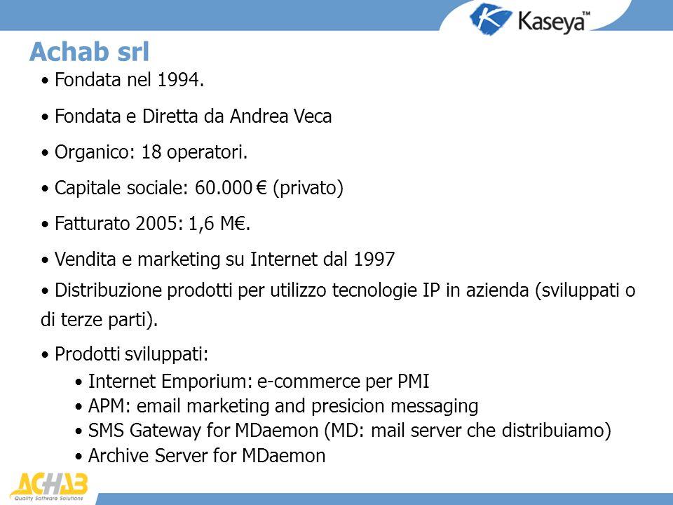 Fondata nel 1994. Fondata e Diretta da Andrea Veca Organico: 18 operatori. Capitale sociale: 60.000 (privato) Fatturato 2005: 1,6 M. Vendita e marketi
