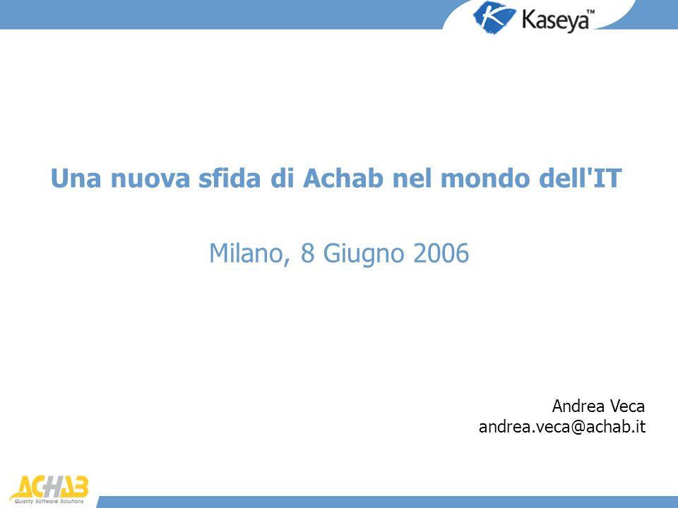 Una nuova sfida di Achab nel mondo dell'IT Milano, 8 Giugno 2006 Andrea Veca andrea.veca@achab.it