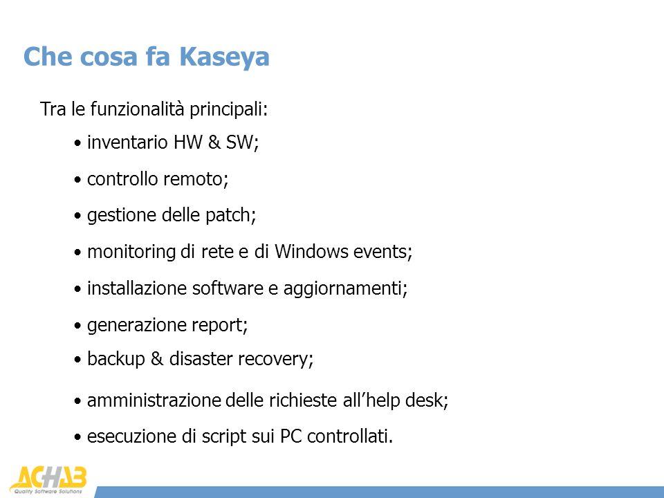 Tra le funzionalità principali: Che cosa fa Kaseya inventario HW & SW; controllo remoto; gestione delle patch; monitoring di rete e di Windows events;