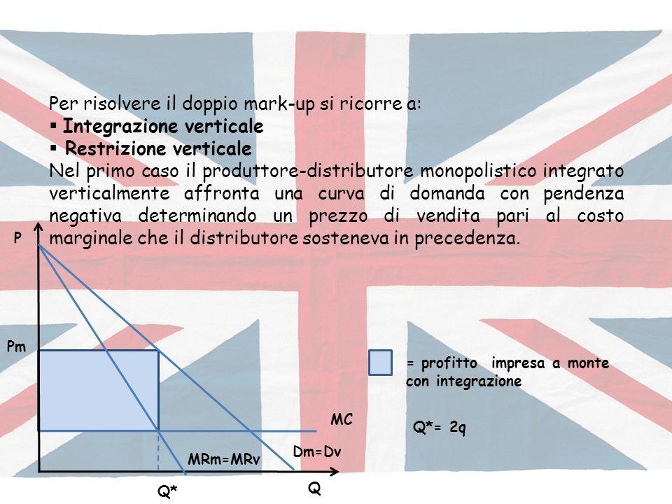 Per risolvere il doppio mark-up si ricorre a: Integrazione verticale Restrizione verticale Nel primo caso il produttore-distributore monopolistico int