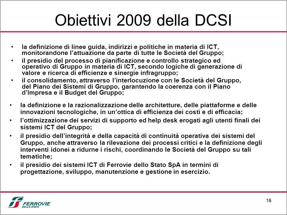 16 Obiettivi 2009 della DCSI la definizione di linee guida, indirizzi e politiche in materia di ICT, monitorandone lattuazione da parte di tutte le So