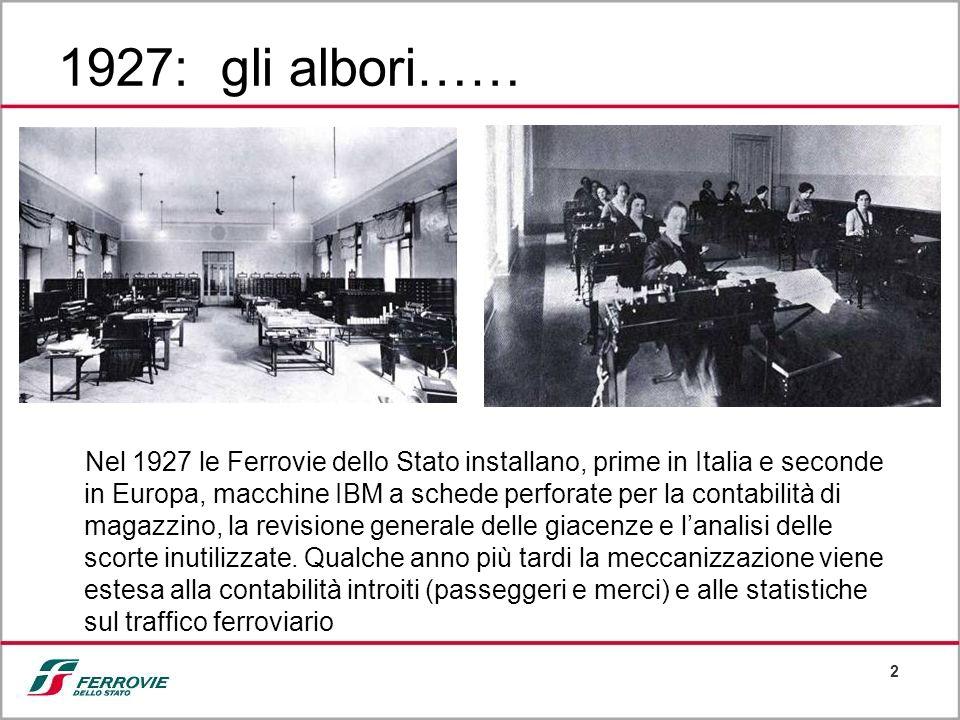 2 1927: gli albori…… Nel 1927 le Ferrovie dello Stato installano, prime in Italia e seconde in Europa, macchine IBM a schede perforate per la contabil