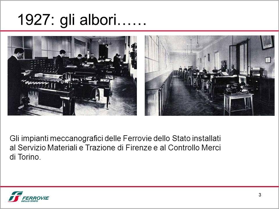 3 1927: gli albori…… Gli impianti meccanografici delle Ferrovie dello Stato installati al Servizio Materiali e Trazione di Firenze e al Controllo Merc