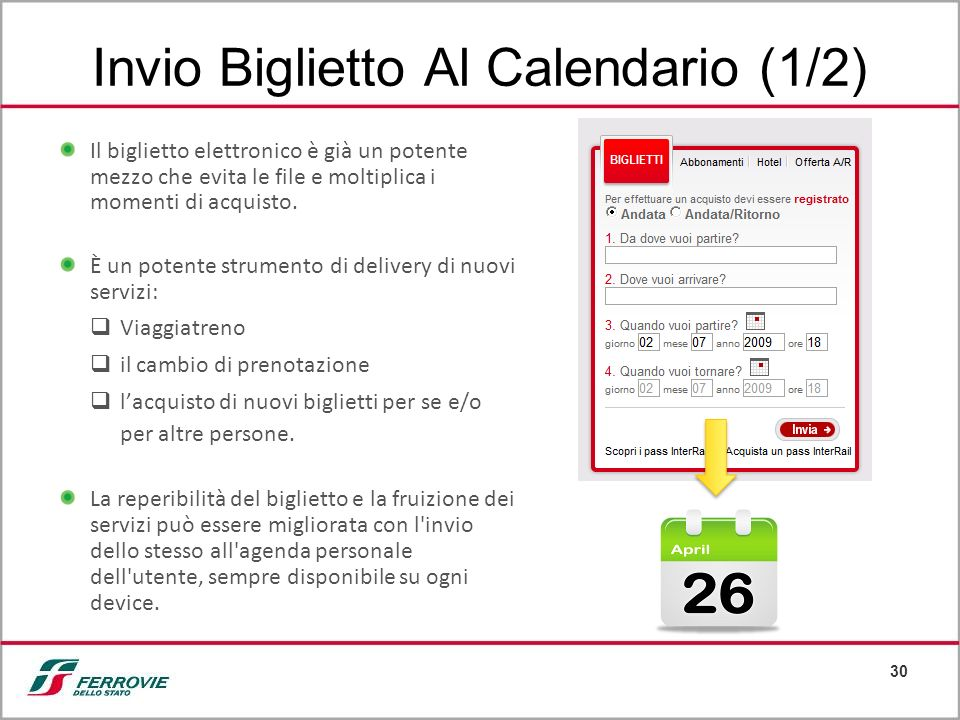30 Invio Biglietto Al Calendario (1/2) Il biglietto elettronico è già un potente mezzo che evita le file e moltiplica i momenti di acquisto. È un pote