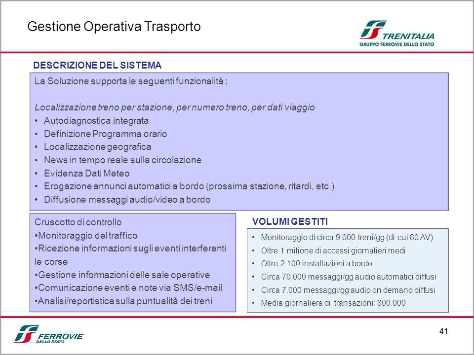 41 La Soluzione supporta le seguenti funzionalità : Localizzazione treno per stazione, per numero treno, per dati viaggio Autodiagnostica integrata De
