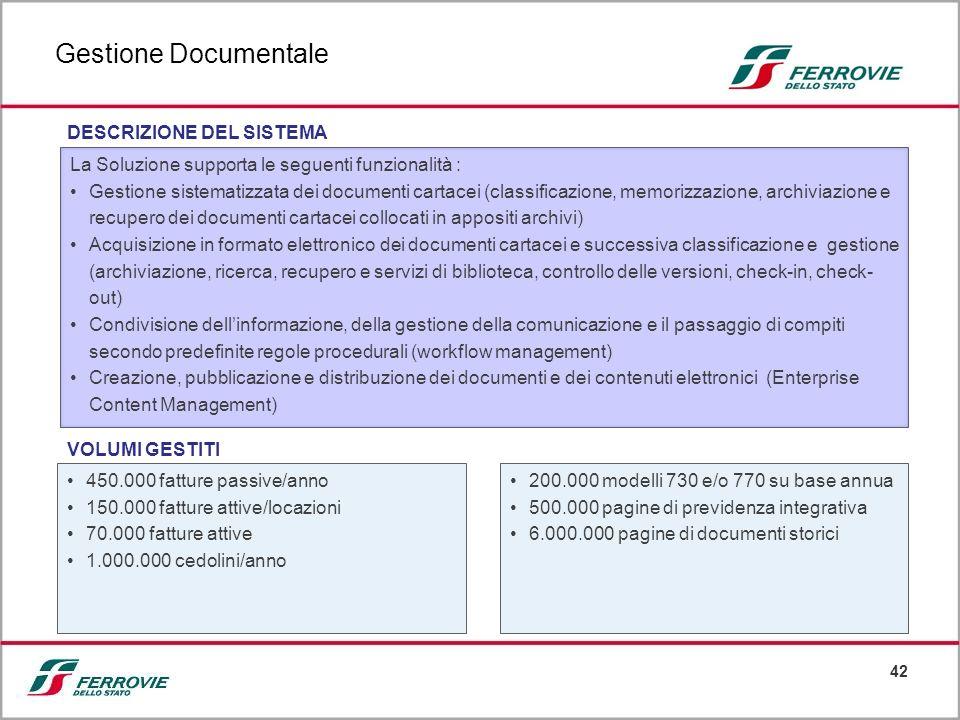 42 La Soluzione supporta le seguenti funzionalità : Gestione sistematizzata dei documenti cartacei (classificazione, memorizzazione, archiviazione e r