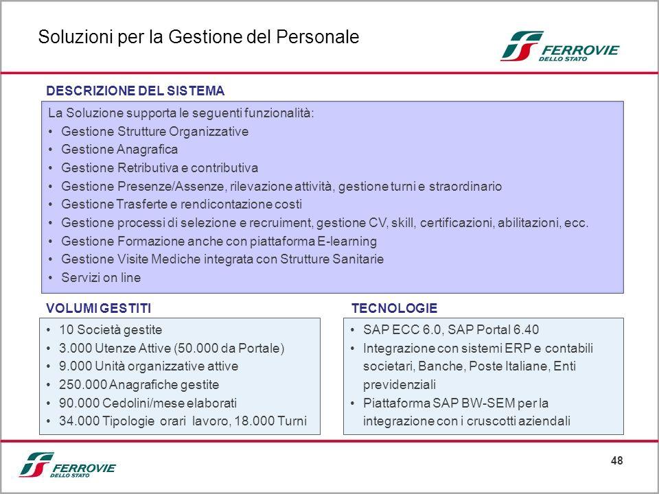 48 La Soluzione supporta le seguenti funzionalità: Gestione Strutture Organizzative Gestione Anagrafica Gestione Retributiva e contributiva Gestione P