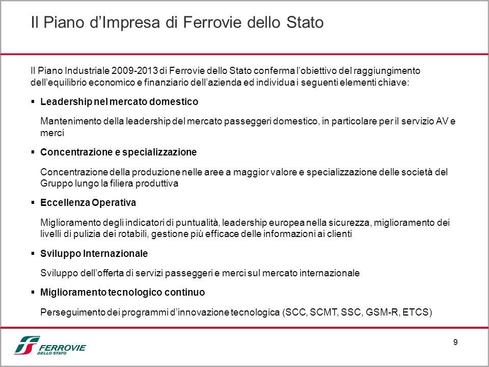 9 Il Piano Industriale 2009-2013 di Ferrovie dello Stato conferma lobiettivo del raggiungimento dellequilibrio economico e finanziario dellazienda ed