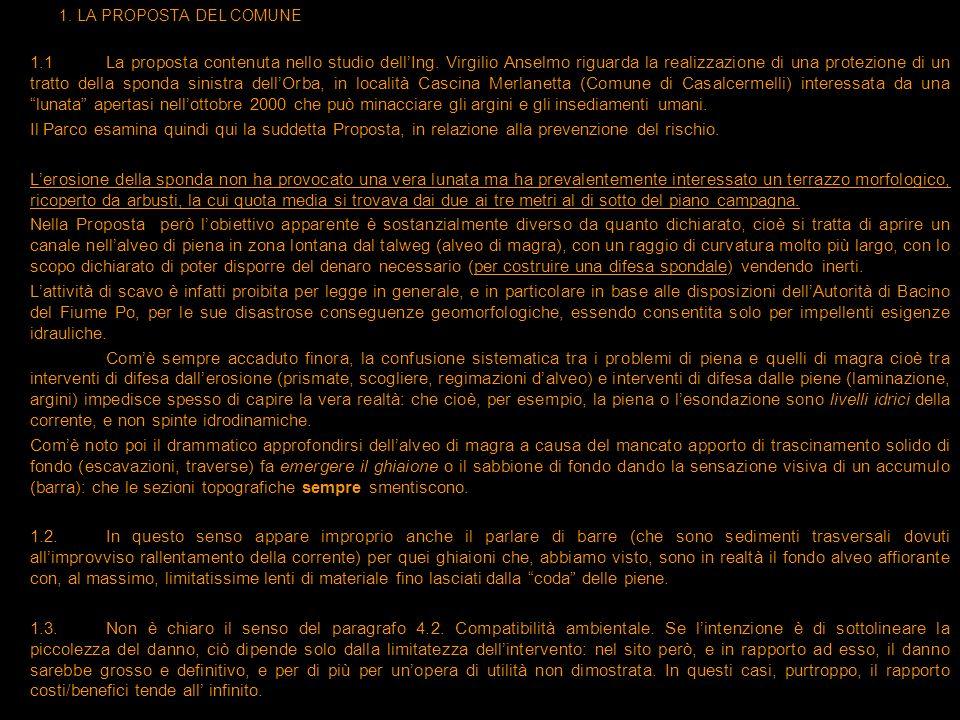 1. LA PROPOSTA DEL COMUNE 1.1La proposta contenuta nello studio dellIng. Virgilio Anselmo riguarda la realizzazione di una protezione di un tratto del
