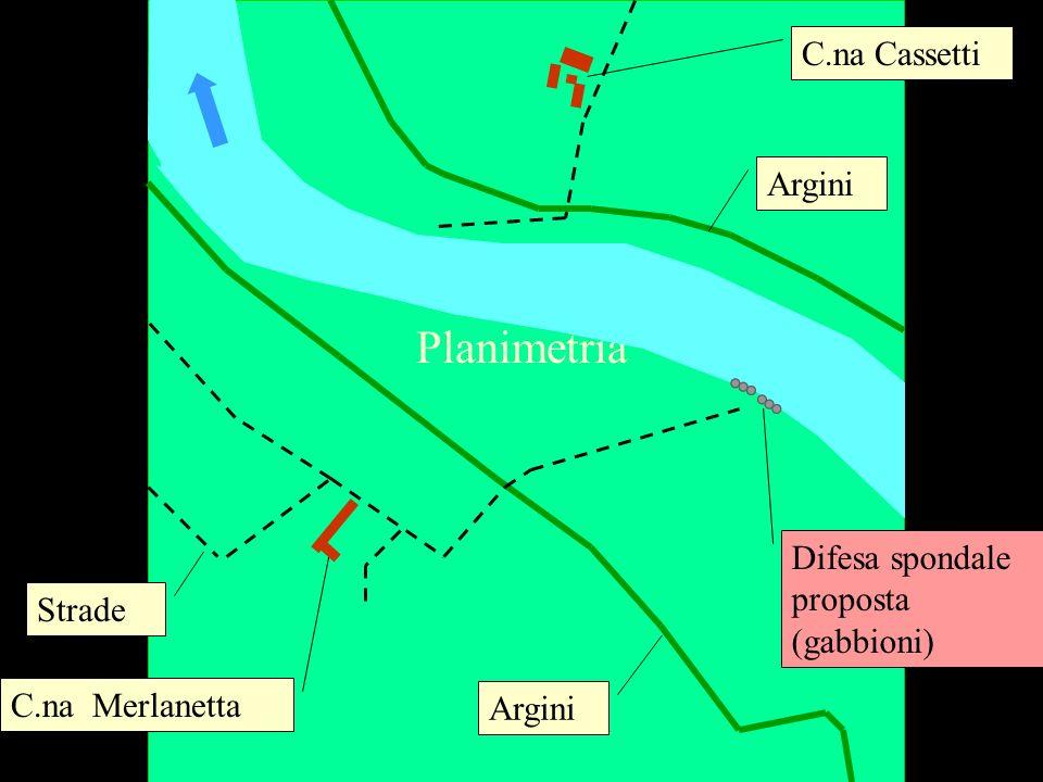 Planimetria C.na Merlanetta C.na Cassetti Difesa spondale proposta (gabbioni) Argini Strade