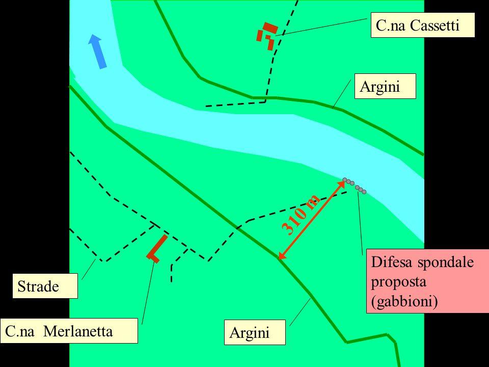 C.na Merlanetta C.na Cassetti Difesa spondale proposta (gabbioni) Argini Strade 310 m