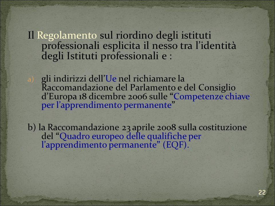 Il Regolamento sul riordino degli istituti professionali esplicita il nesso tra lidentità degli Istituti professionali e : a) gli indirizzi dellUe nel richiamare la Raccomandazione del Parlamento e del Consiglio dEuropa 18 dicembre 2006 sulle Competenze chiave per lapprendimento permanente b) la Raccomandazione 23 aprile 2008 sulla costituzione del Quadro europeo delle qualifiche per lapprendimento permanente (EQF).