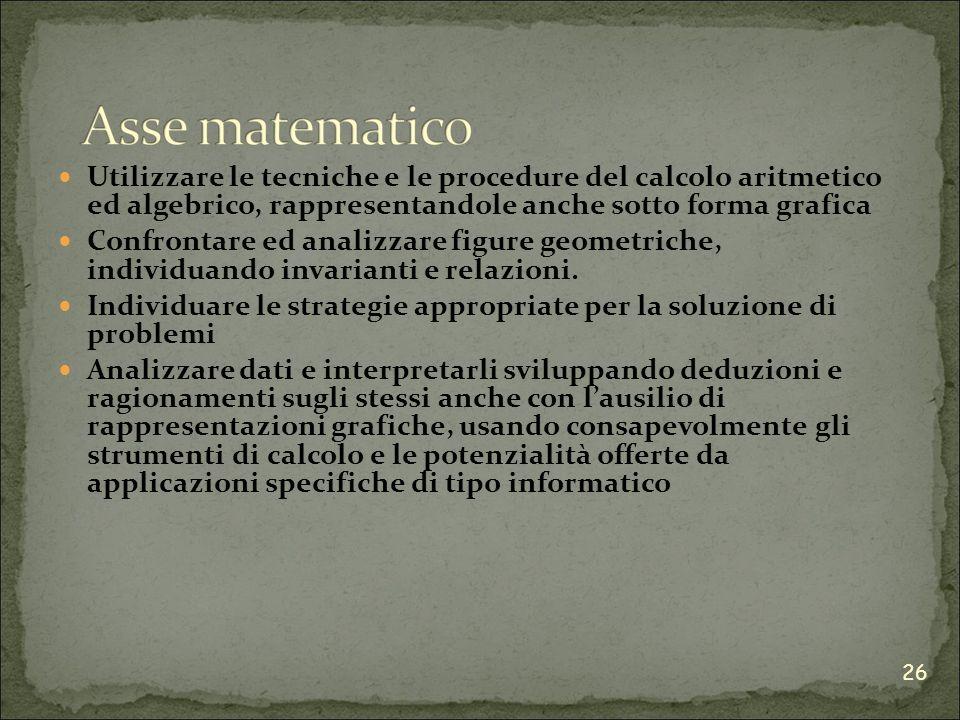 Utilizzare le tecniche e le procedure del calcolo aritmetico ed algebrico, rappresentandole anche sotto forma grafica Confrontare ed analizzare figure geometriche, individuando invarianti e relazioni.