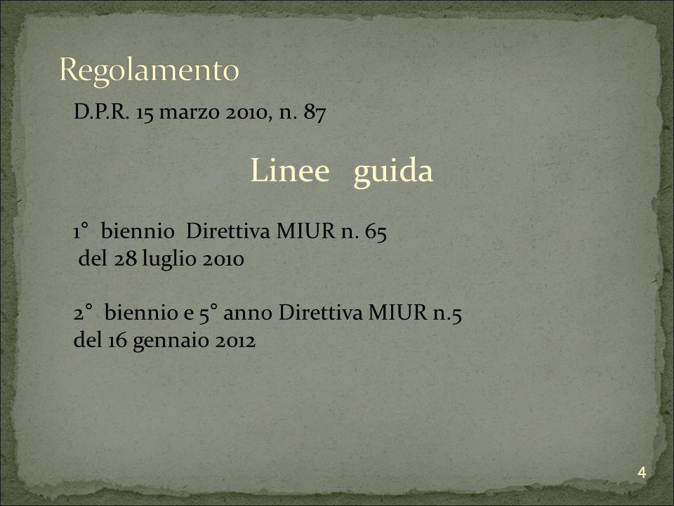 D.P.R. 15 marzo 2010, n. 87 Linee guida 1° biennio Direttiva MIUR n.