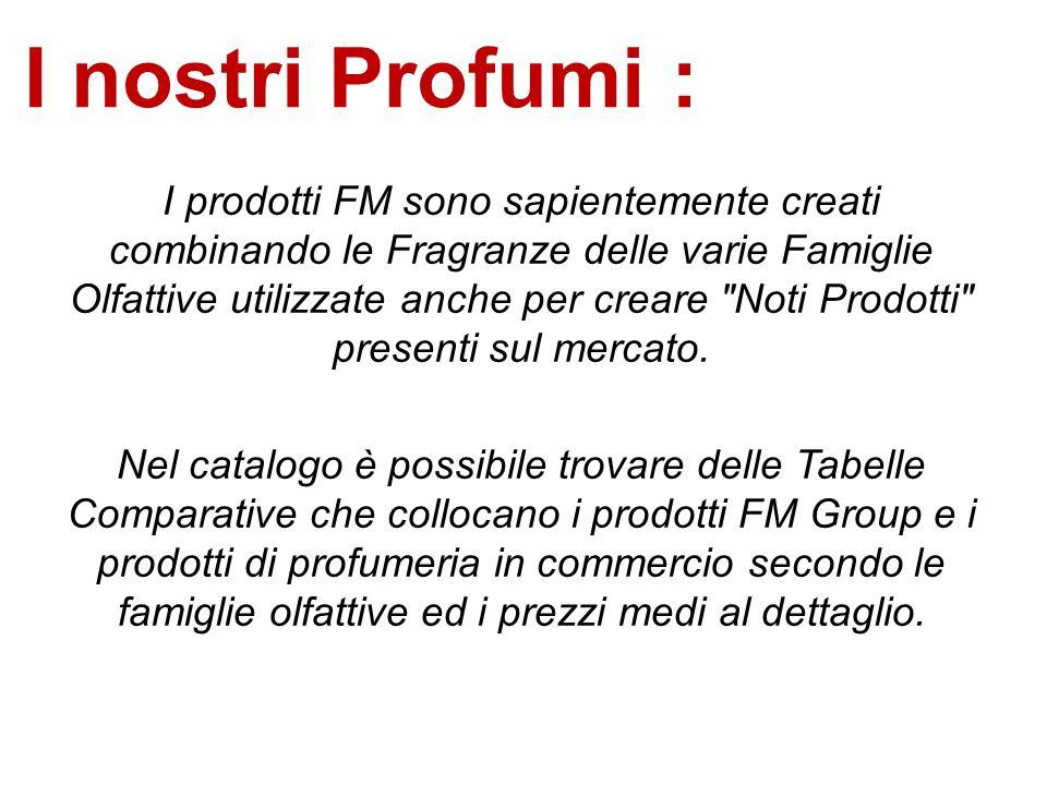 I nostri Profumi : I prodotti FM sono sapientemente creati combinando le Fragranze delle varie Famiglie Olfattive utilizzate anche per creare