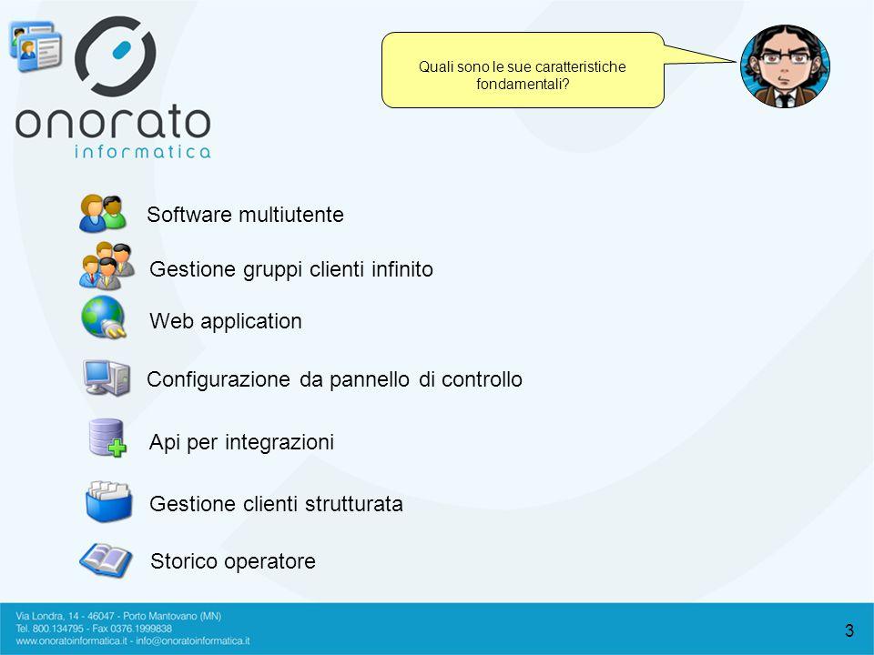 3 Quali sono le sue caratteristiche fondamentali? Software multiutente Gestione gruppi clienti infinito Web application Configurazione da pannello di