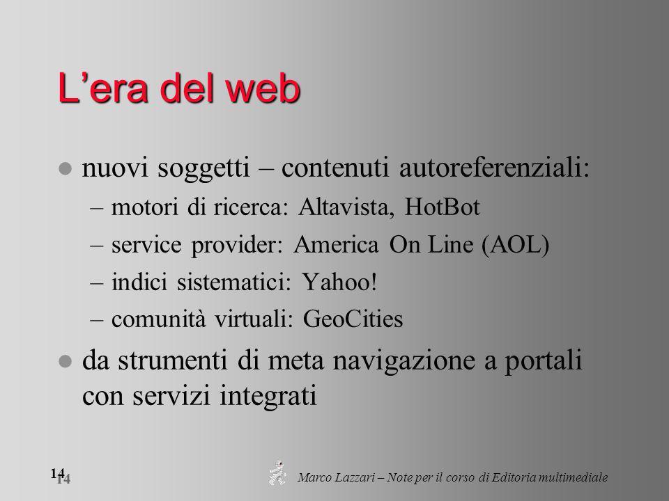 Marco Lazzari – Note per il corso di Editoria multimediale 14 Lera del web l nuovi soggetti – contenuti autoreferenziali: –motori di ricerca: Altavista, HotBot –service provider: America On Line (AOL) –indici sistematici: Yahoo.