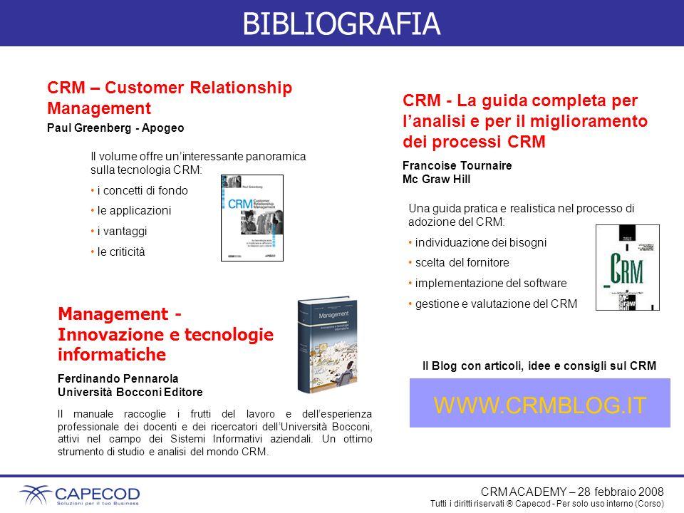 CRM ACADEMY – 28 febbraio 2008 Tutti i diritti riservati ® Capecod - Per solo uso interno (Corso) BIBLIOGRAFIA CRM – Customer Relationship Management