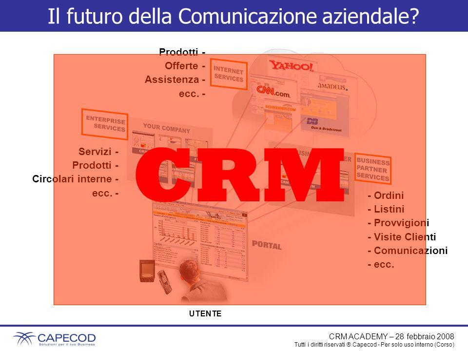 CRM ACADEMY – 28 febbraio 2008 Tutti i diritti riservati ® Capecod - Per solo uso interno (Corso) Perché utilizzare un CRM.