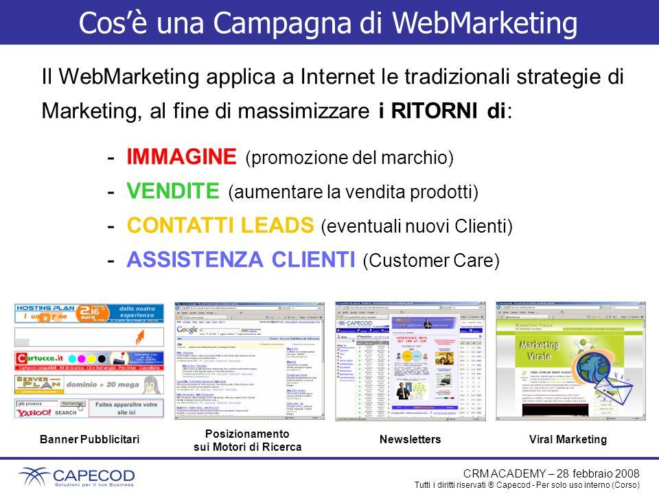 CRM ACADEMY – 28 febbraio 2008 Tutti i diritti riservati ® Capecod - Per solo uso interno (Corso) Cosè una Campagna di WebMarketing Il WebMarketing ap