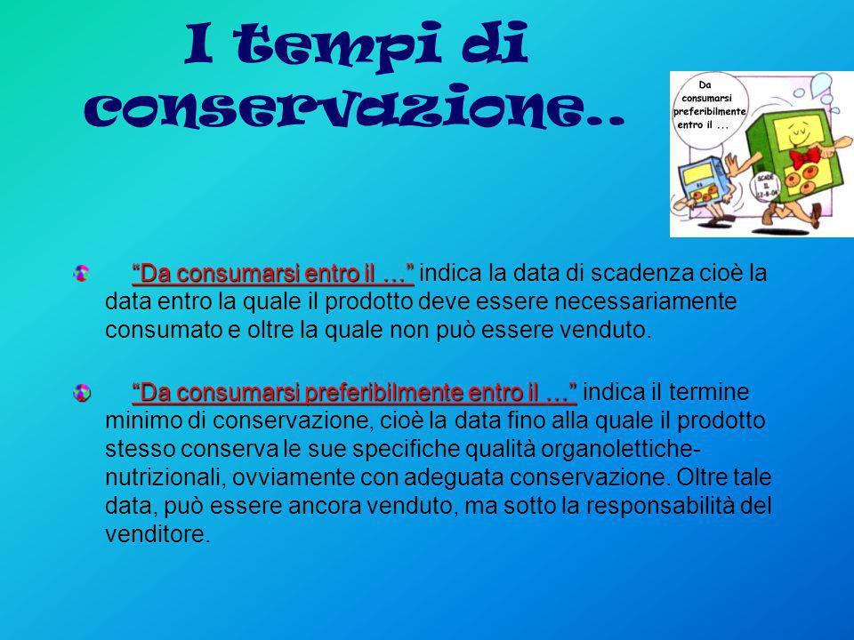 I tempi di conservazione.. Da consumarsi entro il … Da consumarsi entro il … indica la data di scadenza cioè la data entro la quale il prodotto deve e