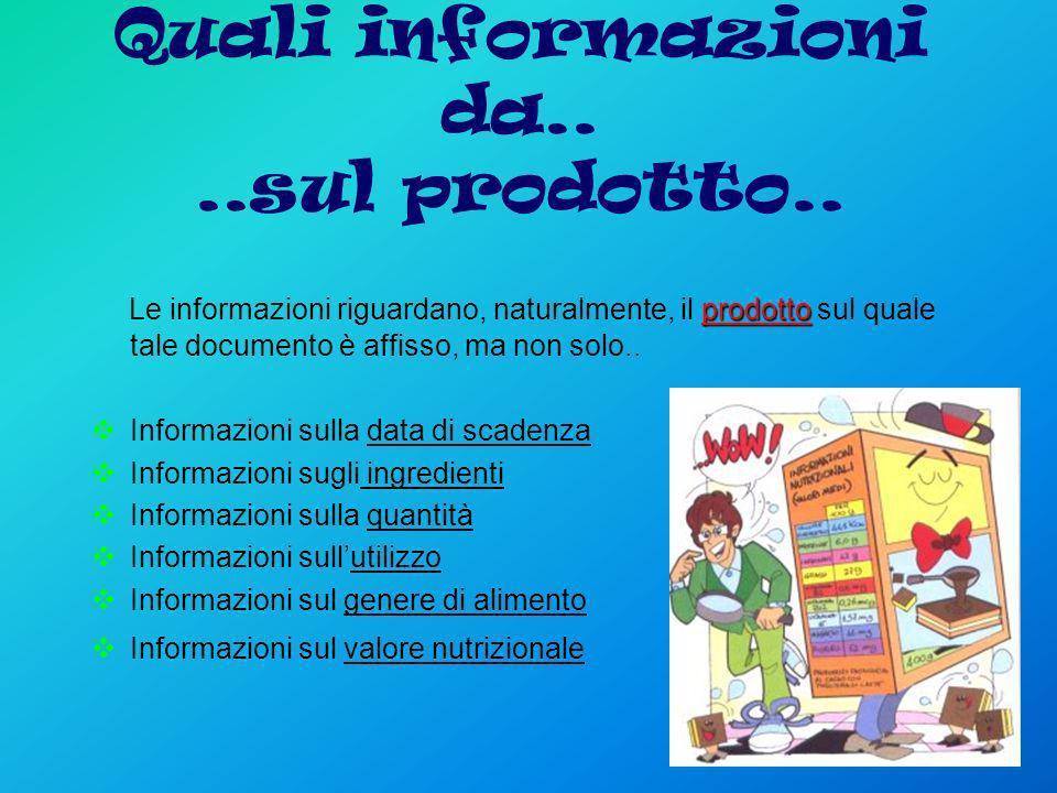 Quali informazioni da....sul prodotto.. prodotto Le informazioni riguardano, naturalmente, il prodotto sul quale tale documento è affisso, ma non solo
