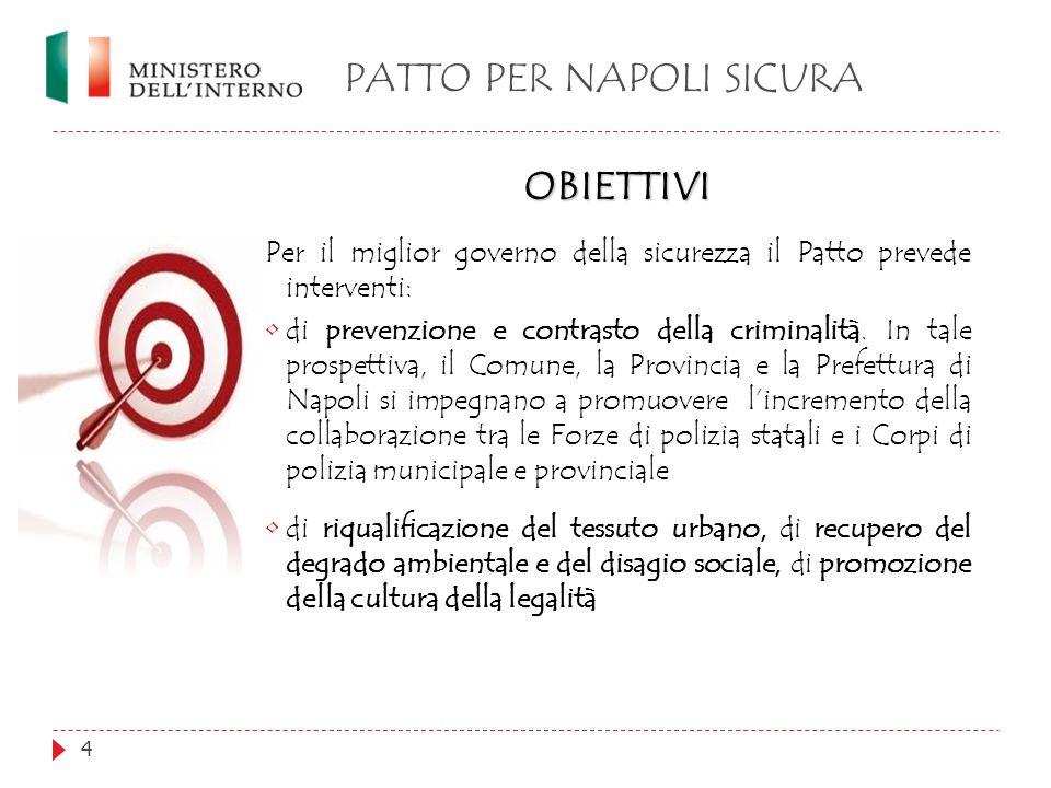 PATTO PER NAPOLI SICURA 4 OBIETTIVI Per il miglior governo della sicurezza il Patto prevede interventi: di prevenzione e contrasto della criminalità.