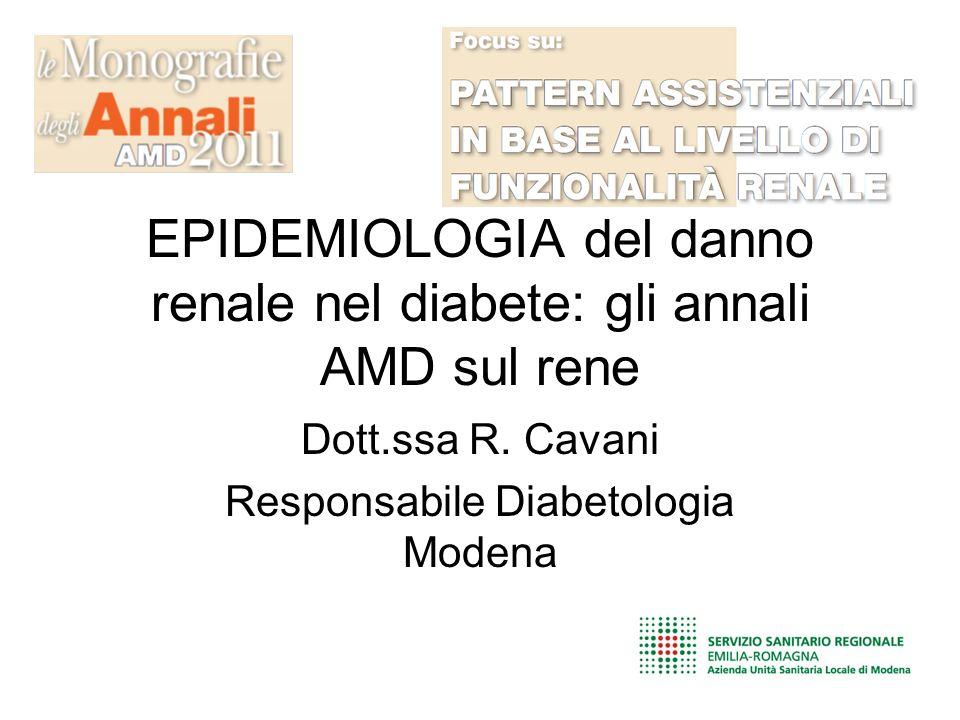 EPIDEMIOLOGIA del danno renale nel diabete: gli annali AMD sul rene Dott.ssa R.