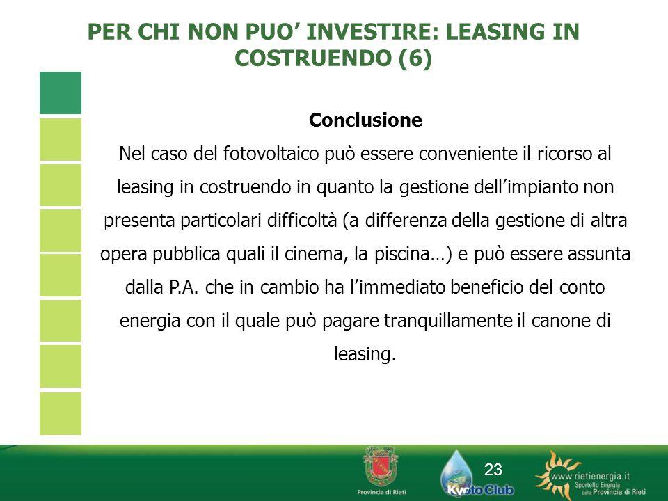 23 PER CHI NON PUO INVESTIRE: LEASING IN COSTRUENDO (6) Conclusione Nel caso del fotovoltaico può essere conveniente il ricorso al leasing in costruen