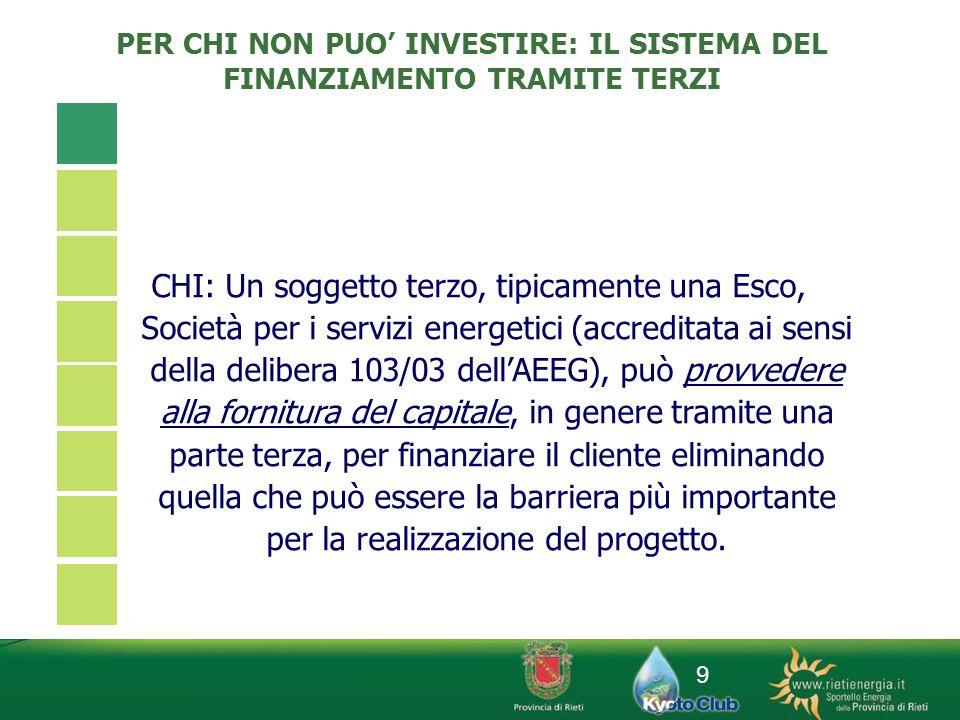 9 PER CHI NON PUO INVESTIRE: IL SISTEMA DEL FINANZIAMENTO TRAMITE TERZI CHI: Un soggetto terzo, tipicamente una Esco, Società per i servizi energetici