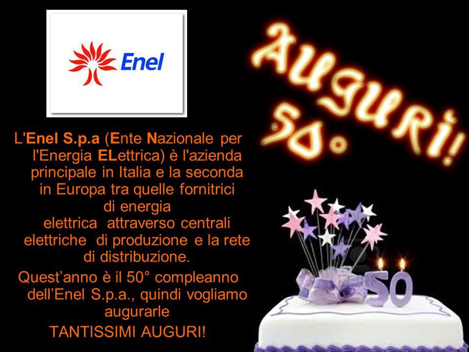 L'Enel S.p.a (Ente Nazionale per l'Energia ELettrica) è l'azienda principale in Italia e la seconda in Europa tra quelle fornitrici di energia elettri