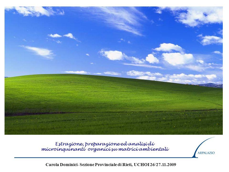 Estrazione, preparazione ed analisi di microinquinanti organici su matrici ambientali Carola Dominici- Sezione Provinciale di Rieti, UCHOI 26/27.11.20