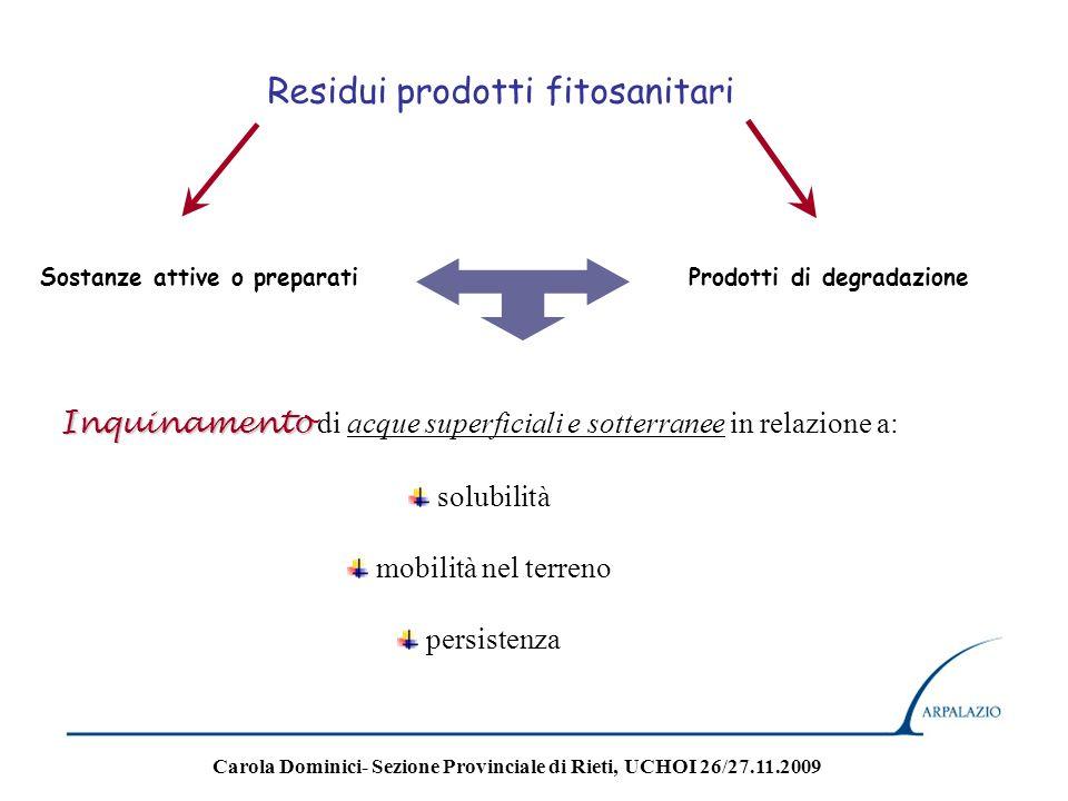 Residui prodotti fitosanitari Sostanze attive o preparatiProdotti di degradazione Inquinamento Inquinamento di acque superficiali e sotterranee in rel
