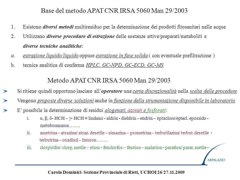 Base del metodo APAT CNR IRSA 5060 Man 29/2003 1.Esistono diversi metodi multiresiduo per la determinazione dei prodotti fitosanitari nelle acque 2.Ut