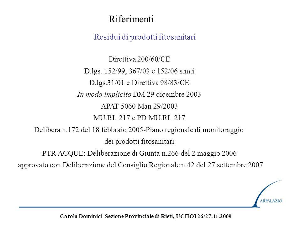 Riferimenti Residui di prodotti fitosanitari Direttiva 200/60/CE D.lgs. 152/99, 367/03 e 152/06 s.m.i D.lgs.31/01 e Direttiva 98/83/CE In modo implici