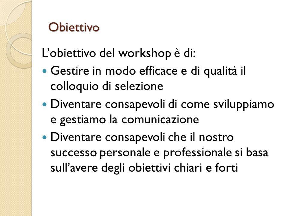 Obiettivo Lobiettivo del workshop è di: Gestire in modo efficace e di qualità il colloquio di selezione Diventare consapevoli di come sviluppiamo e ge