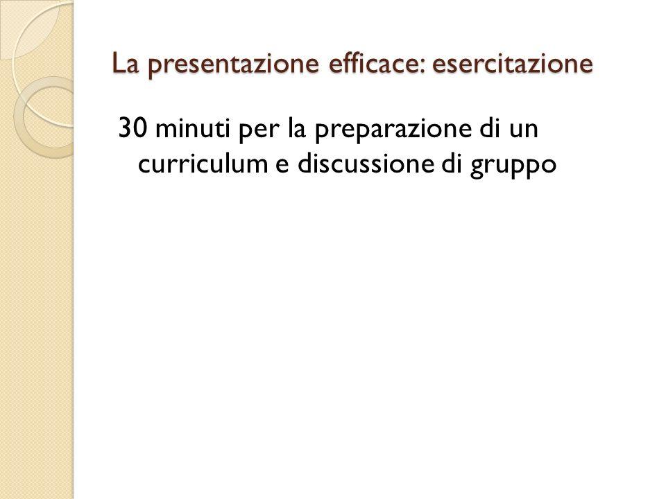 La presentazione efficace: esercitazione 30 minuti per la preparazione di un curriculum e discussione di gruppo