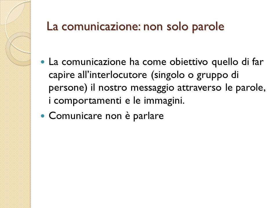 La comunicazione: non solo parole La comunicazione ha come obiettivo quello di far capire allinterlocutore (singolo o gruppo di persone) il nostro messaggio attraverso le parole, i comportamenti e le immagini.