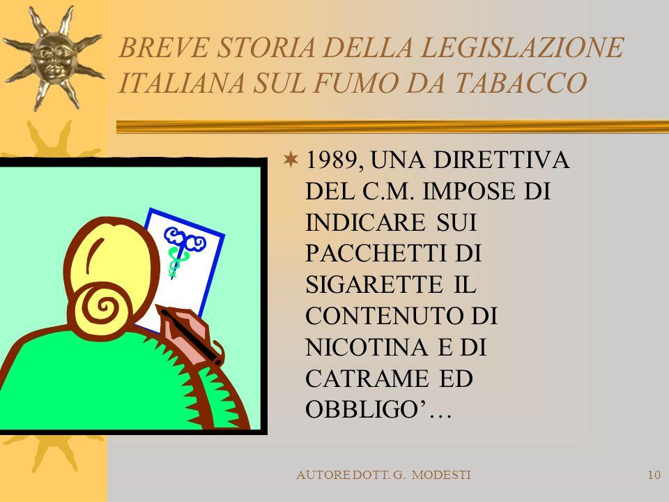 AUTORE DOTT. G. MODESTI10 BREVE STORIA DELLA LEGISLAZIONE ITALIANA SUL FUMO DA TABACCO 1989, UNA DIRETTIVA DEL C.M. IMPOSE DI INDICARE SUI PACCHETTI D