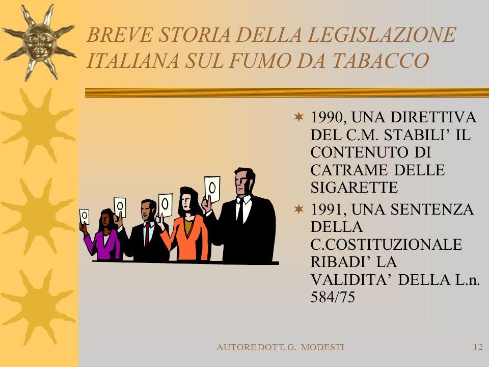 AUTORE DOTT. G. MODESTI12 BREVE STORIA DELLA LEGISLAZIONE ITALIANA SUL FUMO DA TABACCO 1990, UNA DIRETTIVA DEL C.M. STABILI IL CONTENUTO DI CATRAME DE