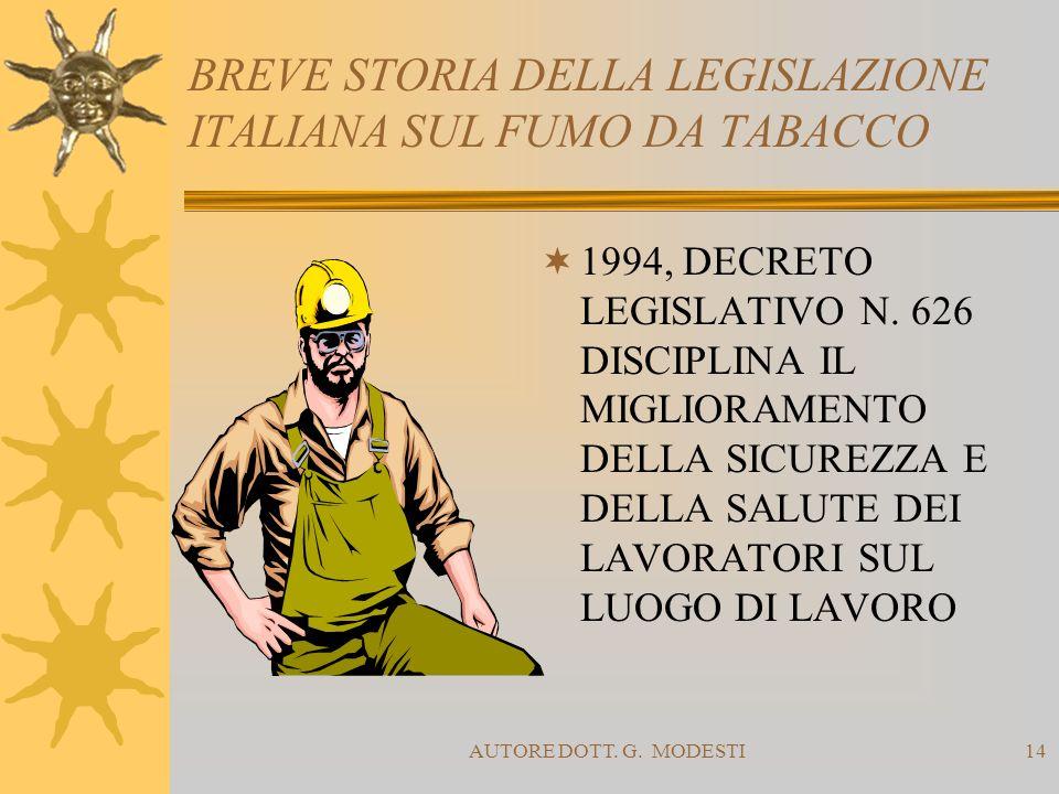 AUTORE DOTT. G. MODESTI14 BREVE STORIA DELLA LEGISLAZIONE ITALIANA SUL FUMO DA TABACCO 1994, DECRETO LEGISLATIVO N. 626 DISCIPLINA IL MIGLIORAMENTO DE
