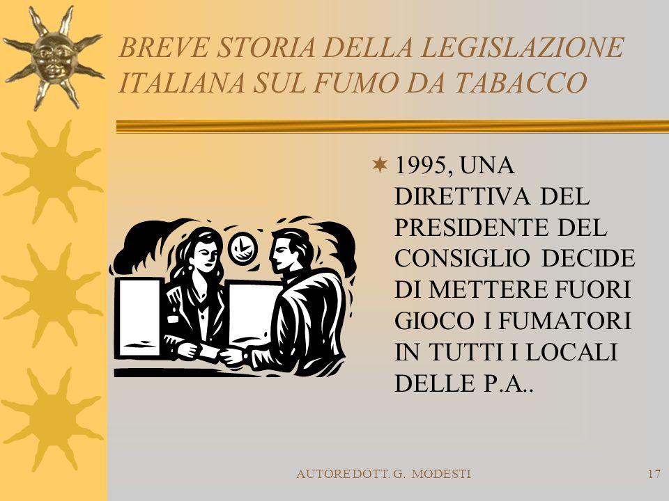 AUTORE DOTT. G. MODESTI17 BREVE STORIA DELLA LEGISLAZIONE ITALIANA SUL FUMO DA TABACCO 1995, UNA DIRETTIVA DEL PRESIDENTE DEL CONSIGLIO DECIDE DI METT
