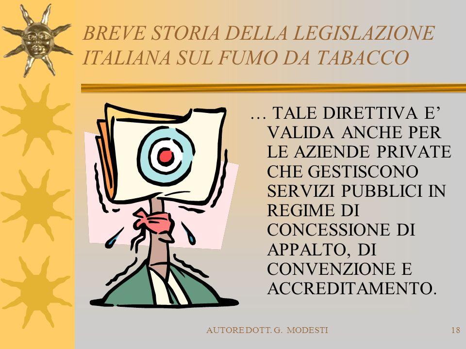 AUTORE DOTT. G. MODESTI18 BREVE STORIA DELLA LEGISLAZIONE ITALIANA SUL FUMO DA TABACCO … TALE DIRETTIVA E VALIDA ANCHE PER LE AZIENDE PRIVATE CHE GEST