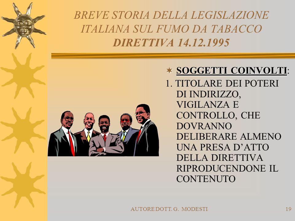 AUTORE DOTT. G. MODESTI19 BREVE STORIA DELLA LEGISLAZIONE ITALIANA SUL FUMO DA TABACCO DIRETTIVA 14.12.1995 SOGGETTI COINVOLTI SOGGETTI COINVOLTI: 1.