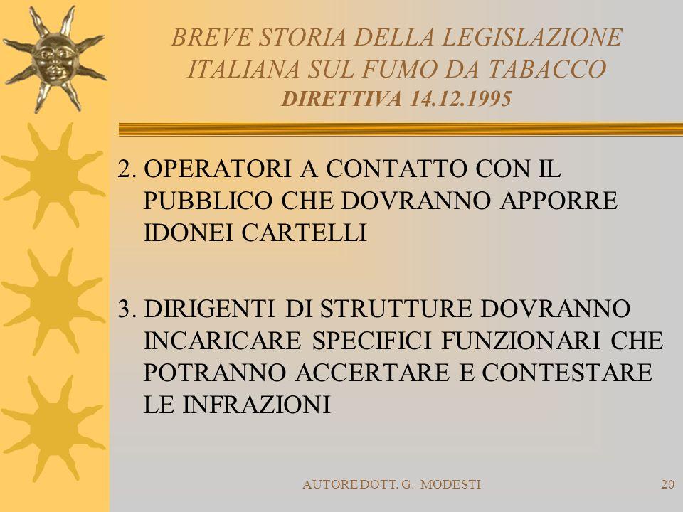 AUTORE DOTT. G. MODESTI20 BREVE STORIA DELLA LEGISLAZIONE ITALIANA SUL FUMO DA TABACCO DIRETTIVA 14.12.1995 2. OPERATORI A CONTATTO CON IL PUBBLICO CH