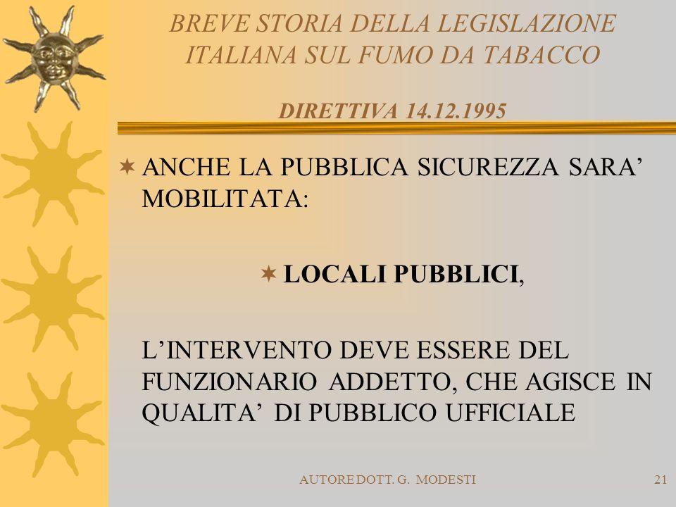 AUTORE DOTT. G. MODESTI21 BREVE STORIA DELLA LEGISLAZIONE ITALIANA SUL FUMO DA TABACCO DIRETTIVA 14.12.1995 ANCHE LA PUBBLICA SICUREZZA SARA MOBILITAT