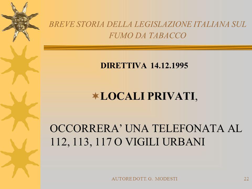 AUTORE DOTT. G. MODESTI22 BREVE STORIA DELLA LEGISLAZIONE ITALIANA SUL FUMO DA TABACCO DIRETTIVA 14.12.1995 LOCALI PRIVATI, OCCORRERA UNA TELEFONATA A